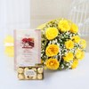 Bunch of 12 Yellow Roses with 16 Pcs Ferrero Rocher & Card