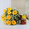 Bunch of 12 Yellow Roses with Gulab Jamun (Wgt : 500 gms)