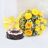 Bunch Of 12 Yellow Roses with Half Kg Round Black Forest Cake