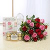 Bunch of 15 Mix Flowers & Ferrero Rocher Box with Greeting Card