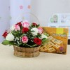 Bunch of 15 Mix Roses with Box of Soan Papdi