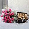 Bunch of 15 Pink Roses with Assorted Dry Fruits & Half Kg Chocolate Cake