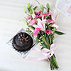 Bunch of 18 Mix Flowers with Half Kg Chocolate Cake