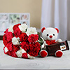 Bunch of 22 Mixed Carnations with 6 Inches Teddy & 1 Temptation