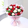 Bunch Of 25 Mix Roses Wrapped In Tissue Paper