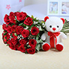 Bunch of 30 Red Roses with 6 Inches Teddy