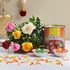 Bunch of 6 Mix Roses With Gulab Jamun 1 Kg & Two Earthen Diyas