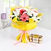 Bunch of Mix Flowers with 16 Pcs Ferrero Rocher Chocolate Box