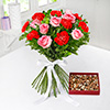 Bunch of Mix Flowers with Assorted Dry Fruits 400 Gms