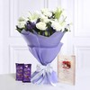 Bunch of Mix Flowers with Cadbury Silk & Greeting Card For Dad