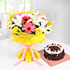 Bunch of Mix Flowers with Round Black Forest Cake