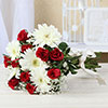 Bunch of Red & White Assorted Flowers