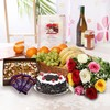 Bunch of Roses with Black Forest Cake & Mixed Fruits Hamper
