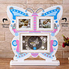 Butterfly Shaped Personalized Photo Frame With Clock