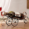 Cart Wheel Metal Wine Bottle Holder