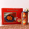 Cashew Nut Roasted & Salted Can with a Box of Kesar Peda