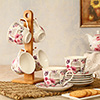 Ceramic Set of 6 Cups with Plates