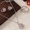 Circled Heart CZ Stone Studded Pendant  Set and a Ring