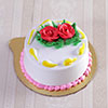 Classic Half Kg Round Vanilla Cake with Rose Toppings