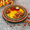 Colorful Puja Thali with 100 Gms Almonds & Moli