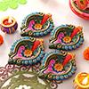 Colorful Set of 4 Clay Diyas