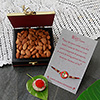 Colorful Zarin and Beaded Rakhi with Almonds in a Dry Fruit Box