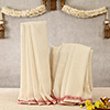 Cotton White Dhoti & Stole with Maroon Design