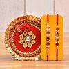 Craftly Beads & Stone Rakhi With a Beautiful Thali