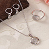 Crescent Moon Designed Pendant Set and a Ring
