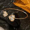 Crystal Studded Heart Design Delicate Bracelet in Golden Tone
