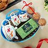 Cups & Kettle with Cookies, Tea in Plastic Basket