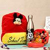 Cute Cartoon Bottle with School Bag & Tiffin Box