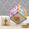 Cute Personalized Magic Cube with Kundan & Meena Work Rakhi