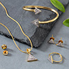 CZ Stone Studded Gold Plated Jewellery Set of Earrings, Pendant, Bracelet and Ring