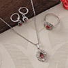 CZ Stone Studded Lovely Pendant Set and a Ring - Red