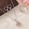 CZ Stones Studded Party wear Pendant Set with Ring