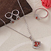 CZ Stones Studded Party wear Pendant Set with Ring - Red