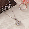 CZ Stones Studded Party wear Pendant Set with Ring - White