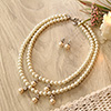 CZ Studded Pearl Necklace with Earrings in a Marble Jali Trinket Box