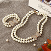 CZ Studded Two Line Pearl Necklace and Bracelet Set