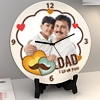 Dad I Love You Personalized Round Wooden Clock