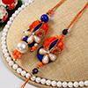 Dazzling Pearl Work Bhaiya Bhabhi Rakhi Set