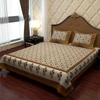 Designer Double Bed Sheet in Ivory White and Golden