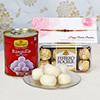 Designer Rakhi With 16 Pcs Ferrero Rocher Box & 1 kg Rasgulla