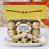 Designer Rakhi With 16 Pcs Ferrero Rocher Box & 250g Kaju Katli