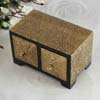 Dual Antique Metal Embossed Wooden Jewelry Drawers
