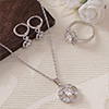 Dynamic CZ Stone Studded Pendant Set and a Ring - White