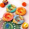 Exquisite Set of 4 Clay Diyas