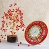 Fengshui Plant With Kundan Meenakari Work Marble Clock