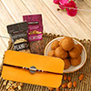 Floral Dial Rakhi & Tasty Laddoos With Almonds & Peanuts